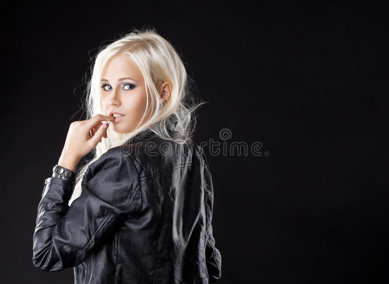 Pretty young girl look at camera with desire stock photos
