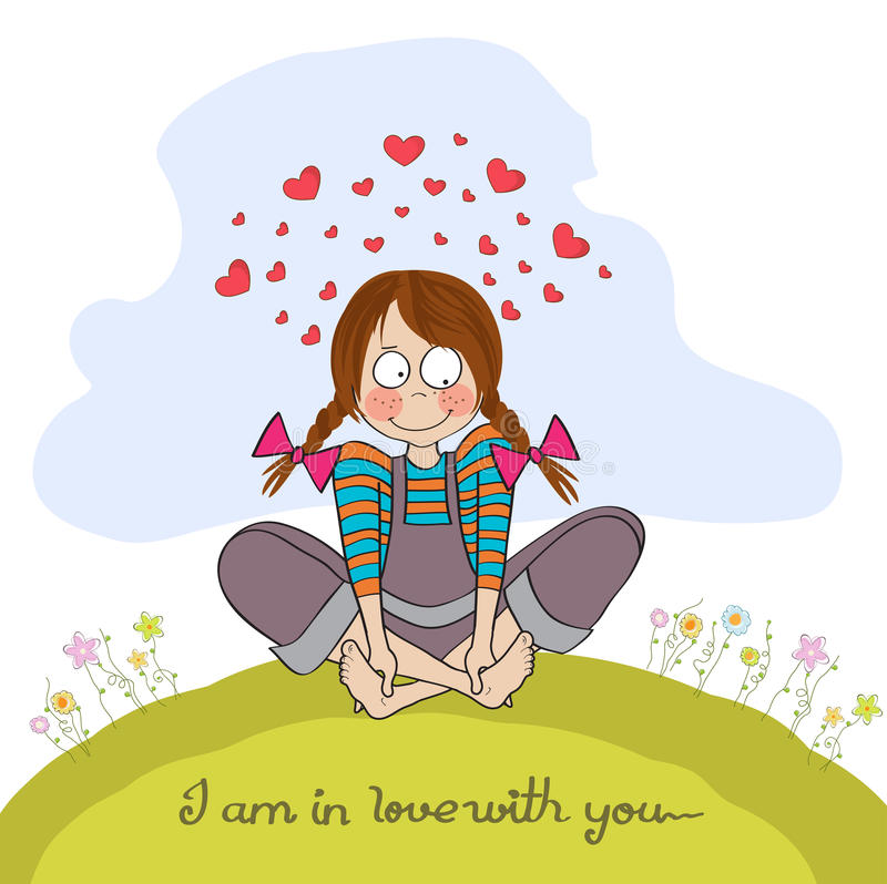 Download Pretty young girl in love stock illustration. Image of girl - 32158280
