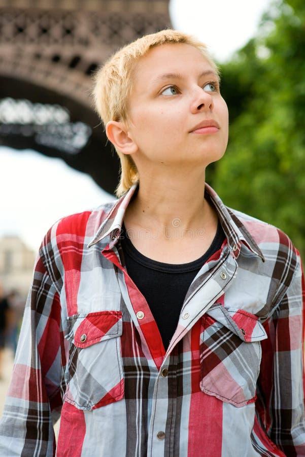 Pretty young girl in Paris stock photos