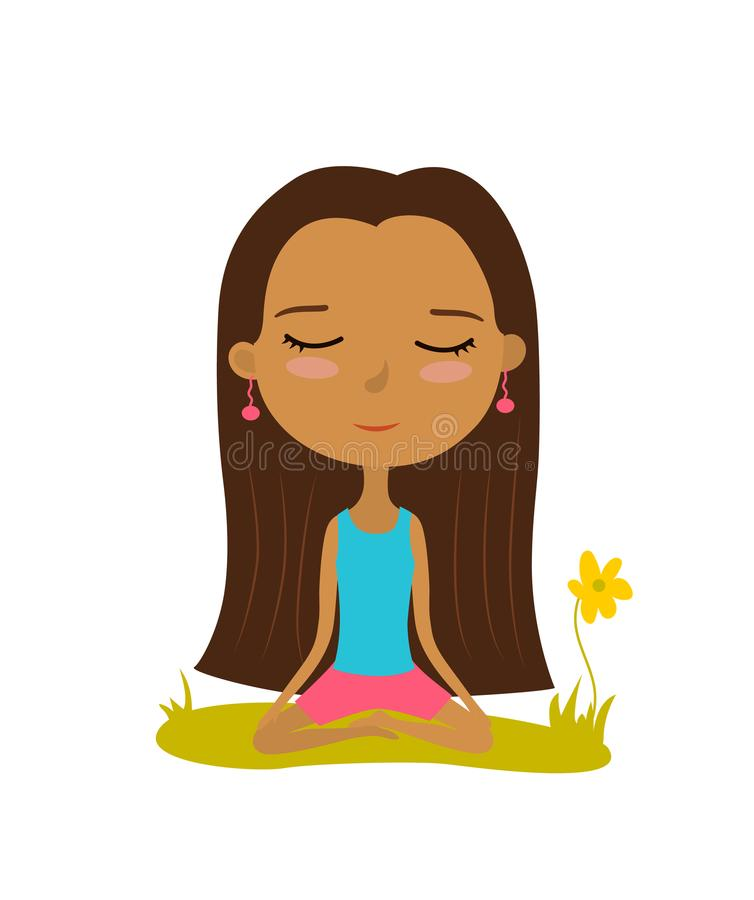 Pretty young girl practices yoga in the lotus position. Meditation and relaxation poster. Vector illustration royalty free illustration