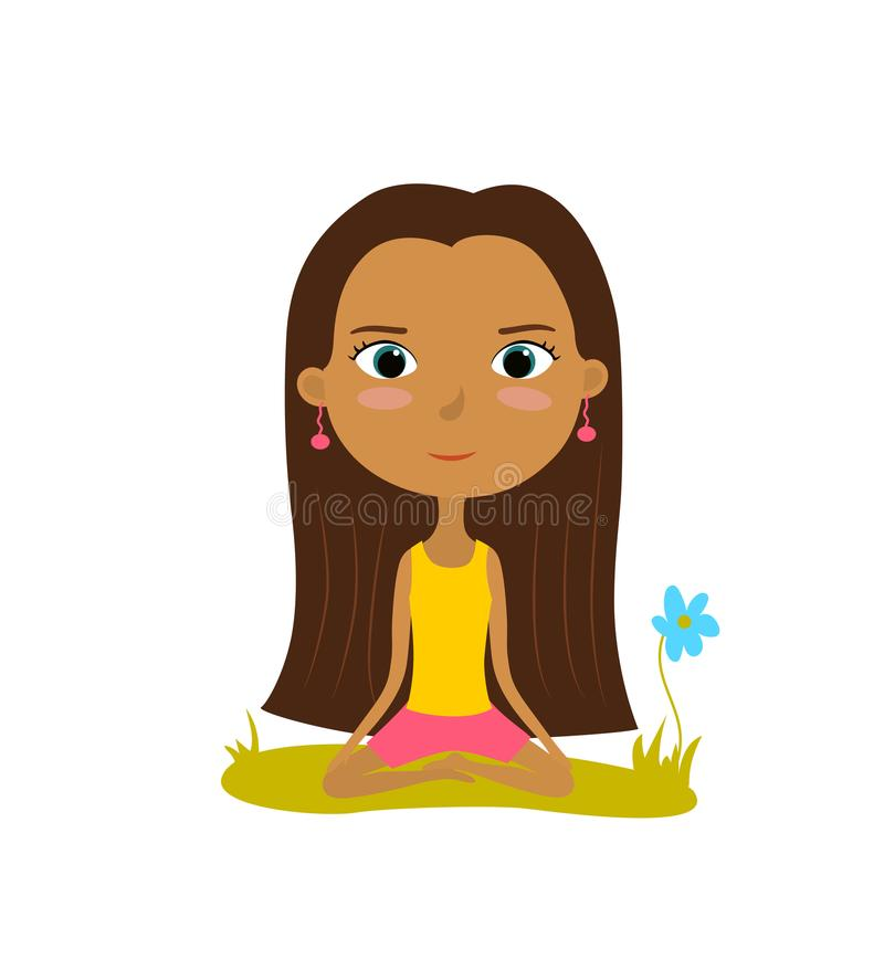 Pretty young girl practices yoga in the lotus position. Meditation and relaxation poster. Vector illustration.  royalty free illustration