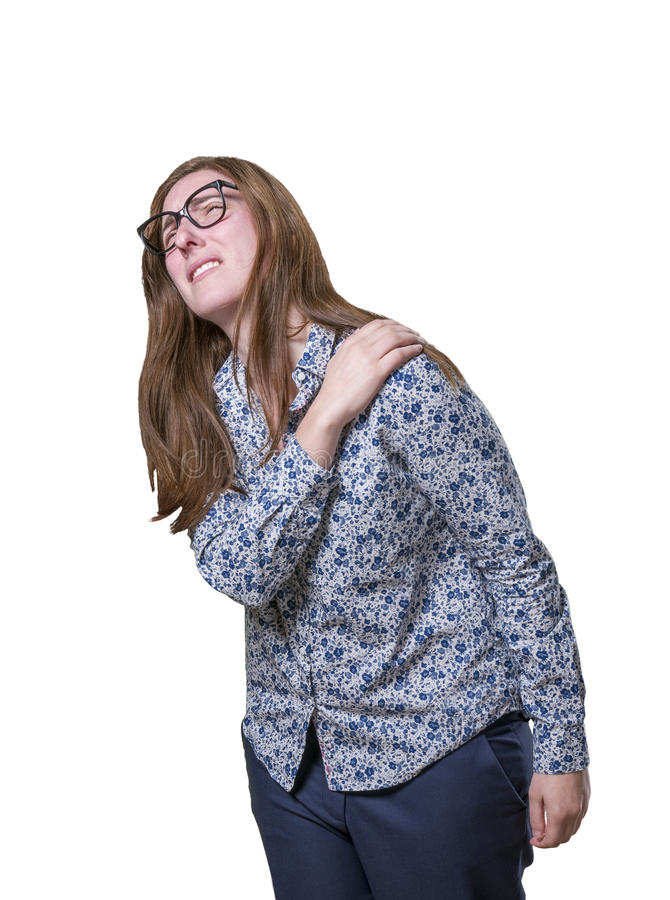 Pretty young happy business woman shoulder pain with glasses. stock photo