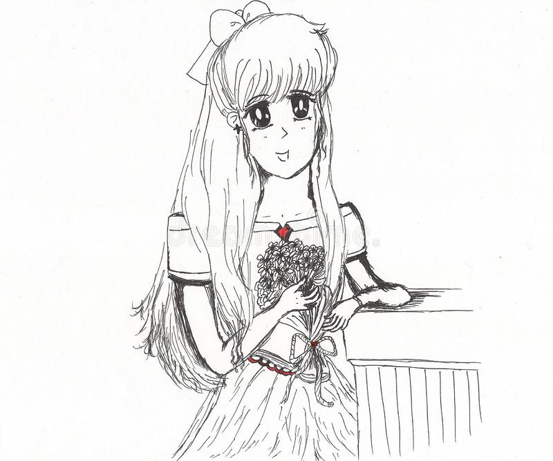 Pretty young lady holding flower bouquet anime style sketch. Plain sketch of pretty maiden standing with a bouquet of flower drawn in anime style vector illustration