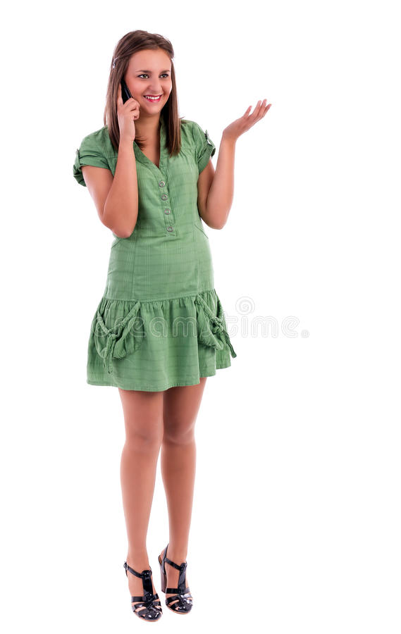 Download Pretty Young Lady Speaking On The Phone And Smiling Stock Image - Image: 28666363