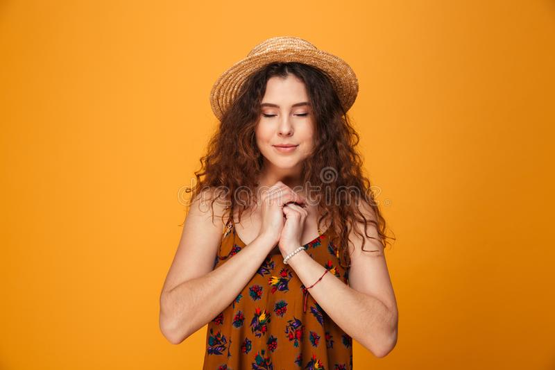 Pretty young lady standing stock photos