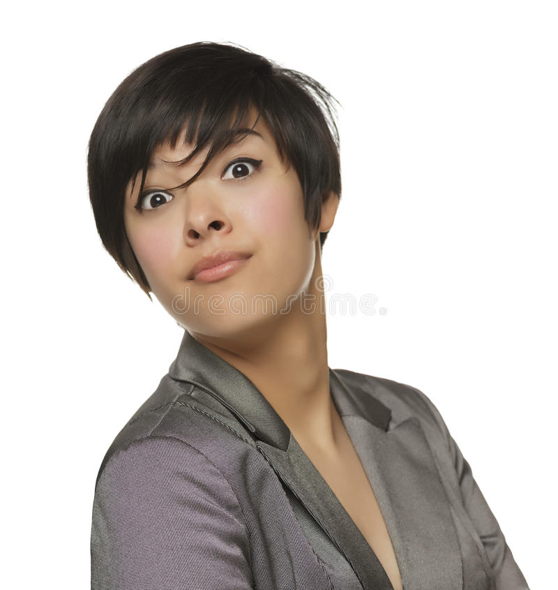 Pretty Young Mixed Race Female Making Face royalty free stock photography