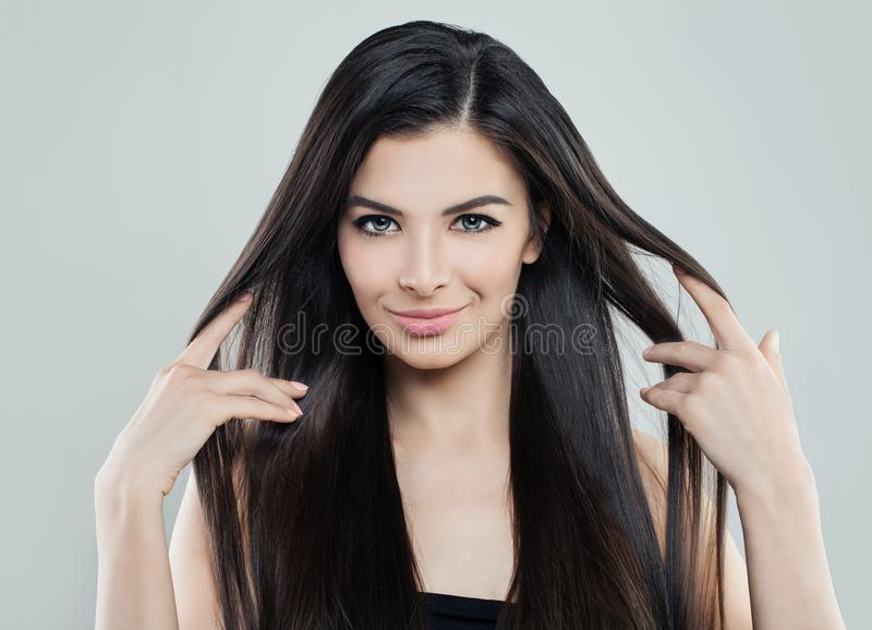 Pretty Young Model Woman with Long Silky Hair royalty free stock photo