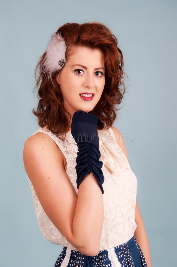 Pretty young retro styled female royalty free stock photos