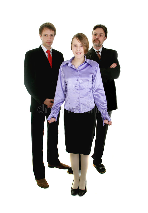 Pretty young secretary and he. R team isolated ower white royalty free stock image