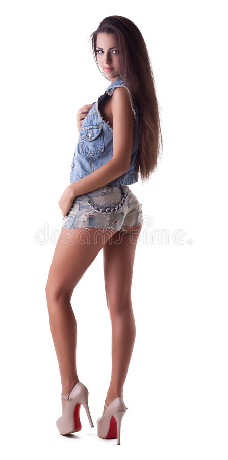 Download Pretty Young Girl Stand In Jeans Stock Photo - Image of lifestyle, music: 25941010
