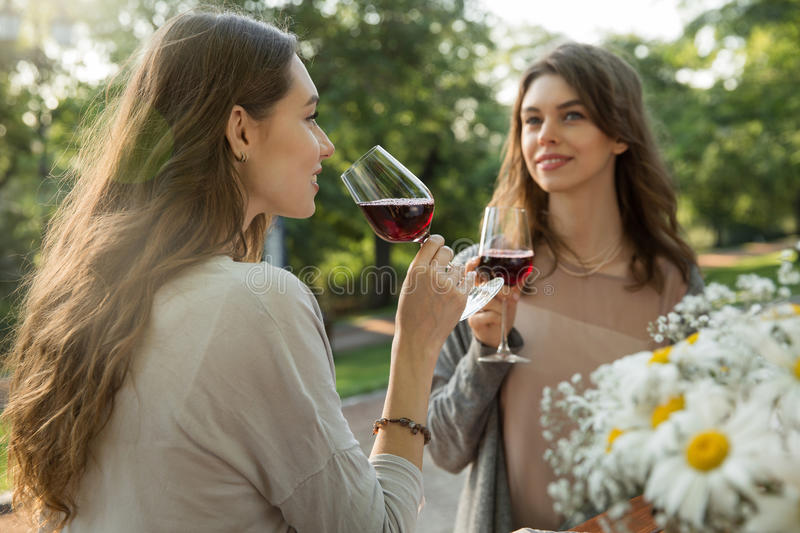 Pretty young two women sitting outdoors in park drinking wine royalty free stock photography