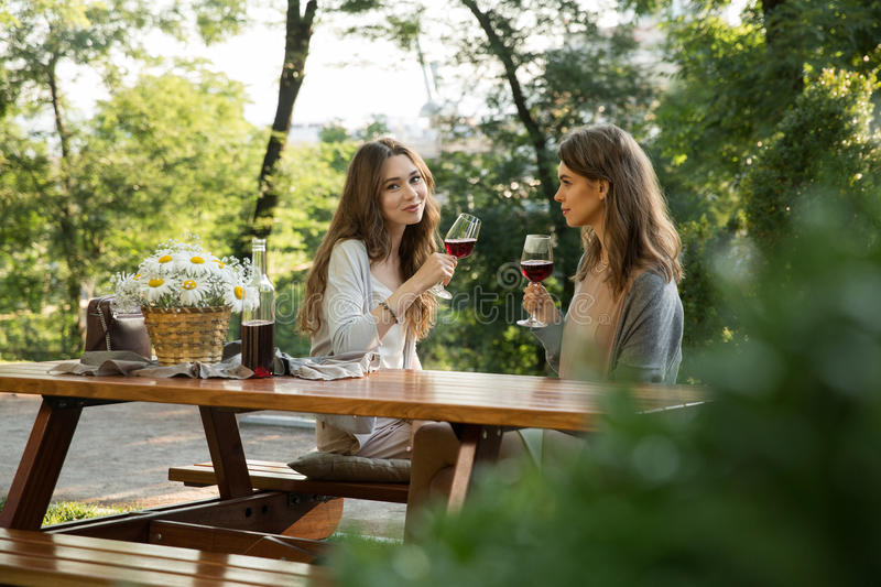 Pretty young two women sitting outdoors in park drinking wine royalty free stock images