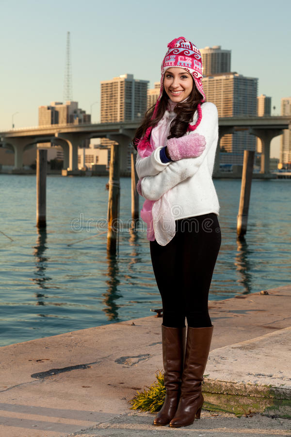 Pretty Young Woman along the Bay with Skyline stock images