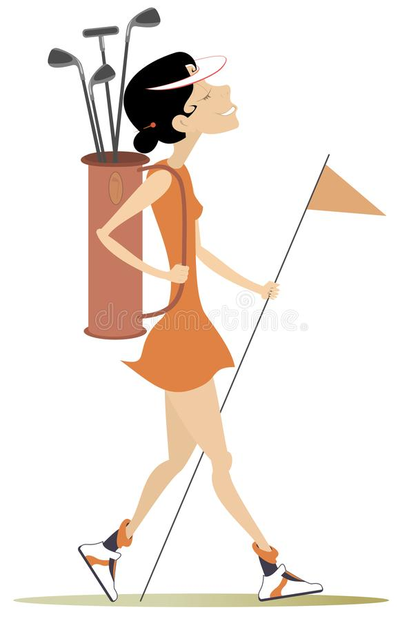 Young woman a golfer illustration. Pretty young woman with bag of golf clubs going to play golf isolated on white royalty free illustration