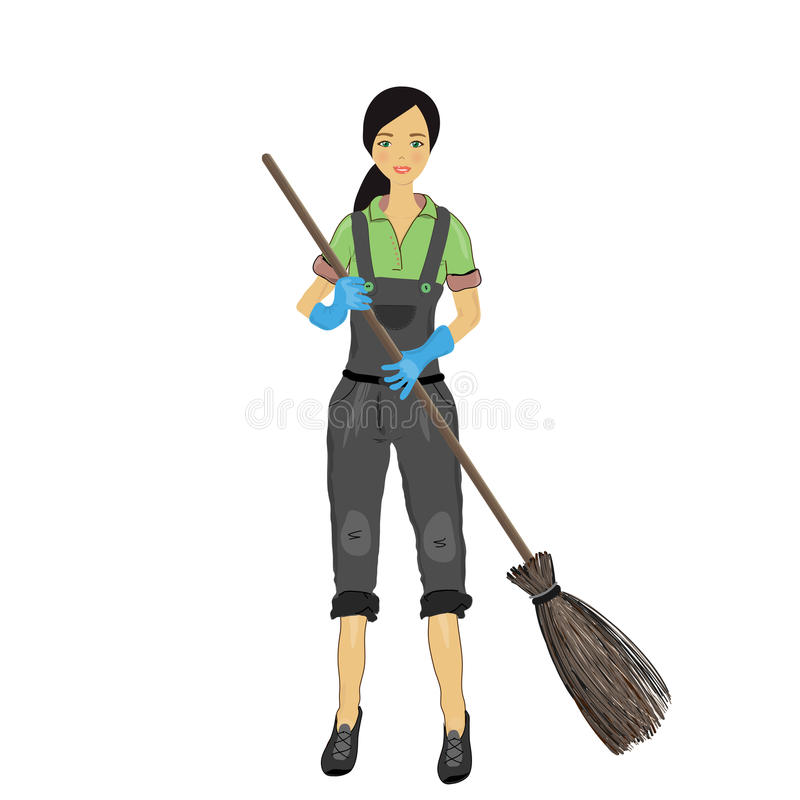 A Pretty Young Woman With A Broom In His Hand. Royalty Free Stock Images
