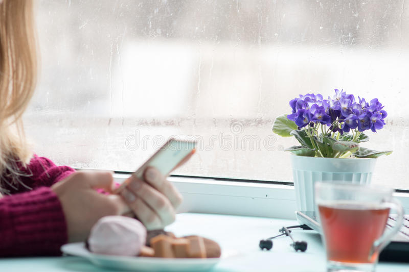 Pretty Young woman at cafe drinking and using mobile phone in sunday morning stock images