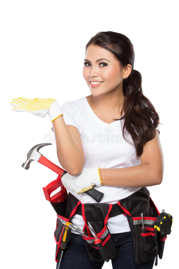 Pretty young woman construction worker royalty free stock photography