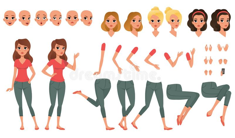 Pretty young woman constructor in flat style. Parts of body legs and arms , face emotions, haircuts and hands gestures. Cartoon girl character creation set royalty free illustration