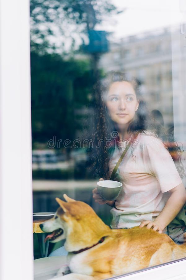 Pretty young woman drinking coffee stroking doggy sitting on window sill in cafe royalty free stock image