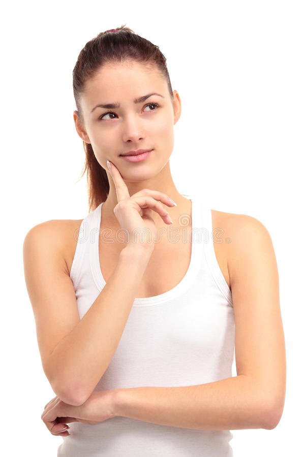 Free Pretty Young Woman Gazing Into The Distance On A White Background Royalty Free Stock Images - 29148849