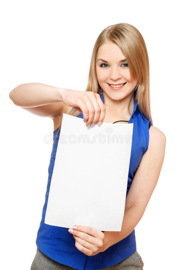 Pretty Young Woman Holding Empty White Board Royalty Free Stock Images