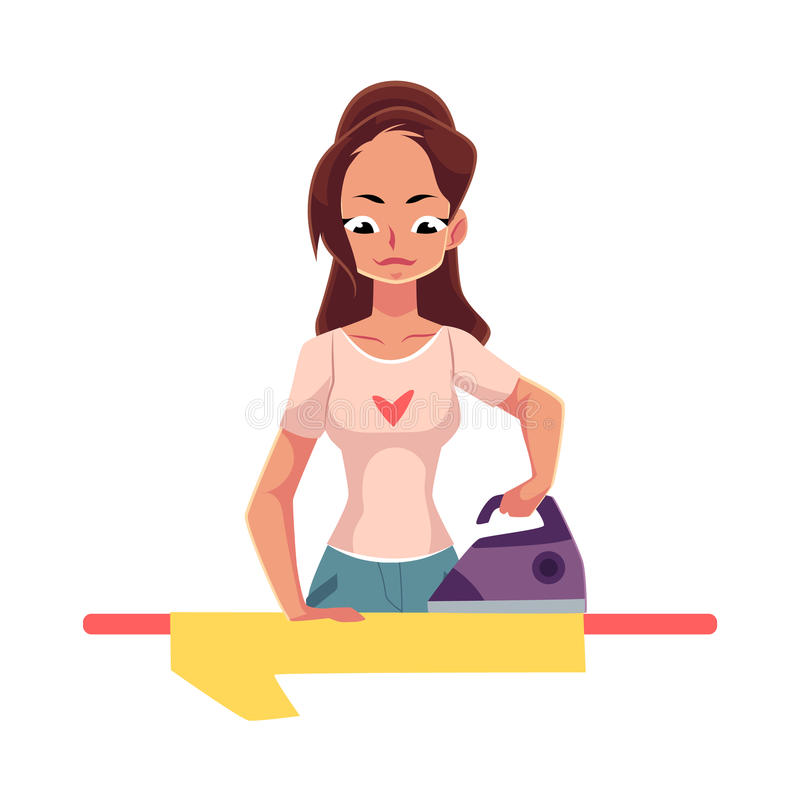 Pretty young woman, housewife ironing linen, shirt, cartoon vector illustration vector illustration