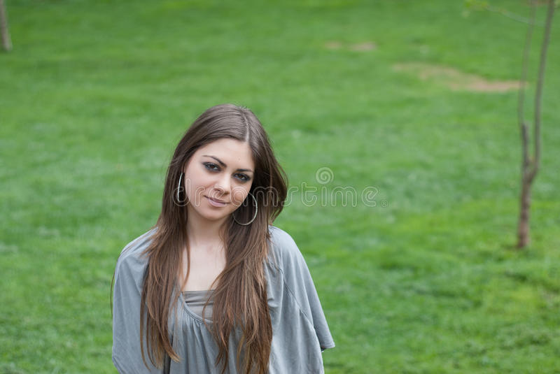 Pretty young woman with long bronde hair royalty free stock image