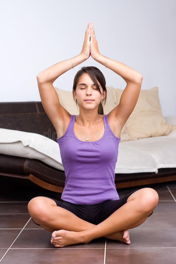 Download Pretty Young Woman Meditating Stock Image - Image: 20908933
