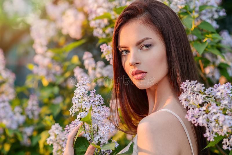 Pretty young woman posing outdoors in nature. stock images
