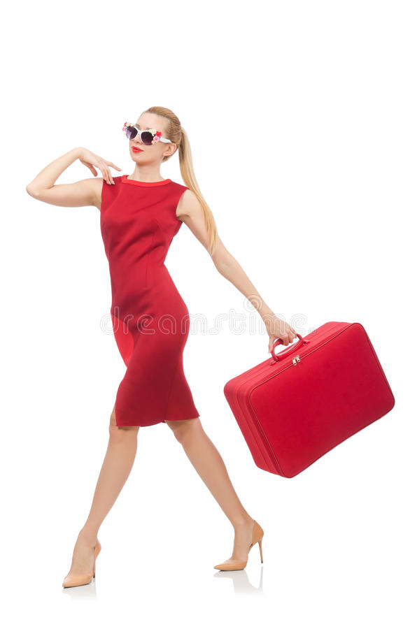 Pretty young woman in red dress isolated on white royalty free stock photography