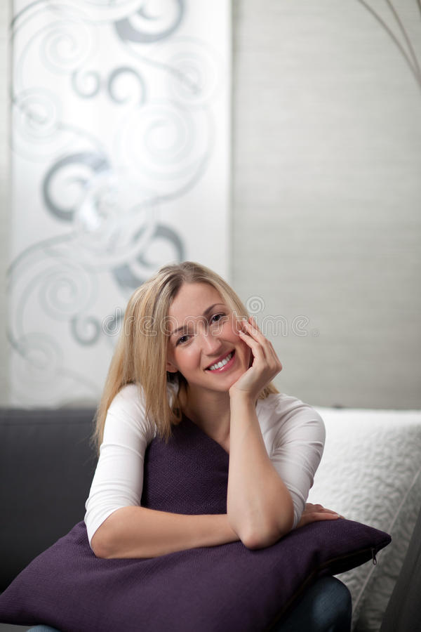 Download Pretty Young Woman Relaxing At Home Stock Image - Image: 33758077