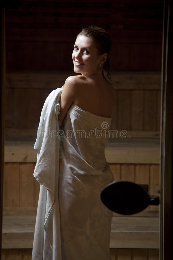 Download Pretty Young Woman In Sauna Stock Image - Image: 18148261