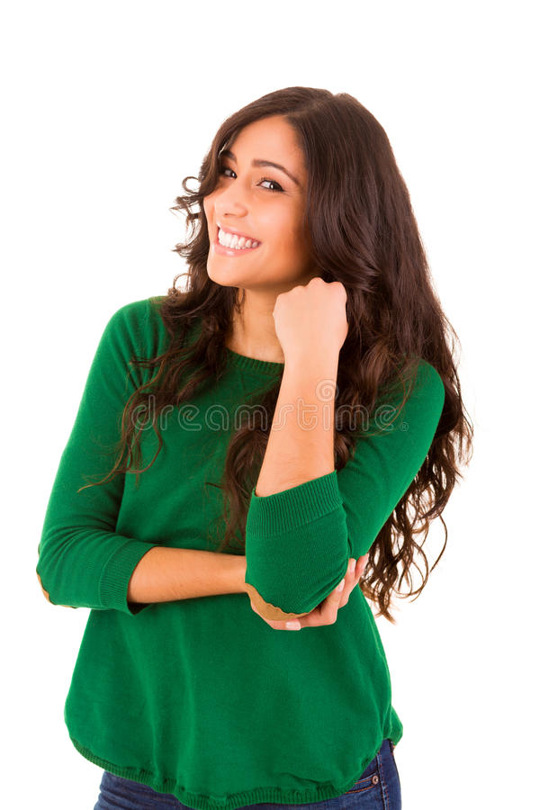 Pretty young woman standing against white backgrou stock photography