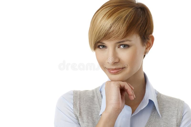 Pretty young woman thinking royalty free stock photos