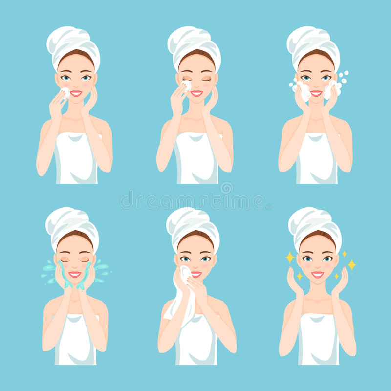 Pretty young woman with a towel around her head and body remove make-up, clean, wash and care her face with sponge. Attractive young woman with a towel around stock illustration
