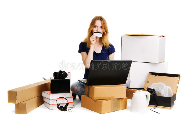 Pretty Young Woman Using Online Stores Royalty Free Stock Photography