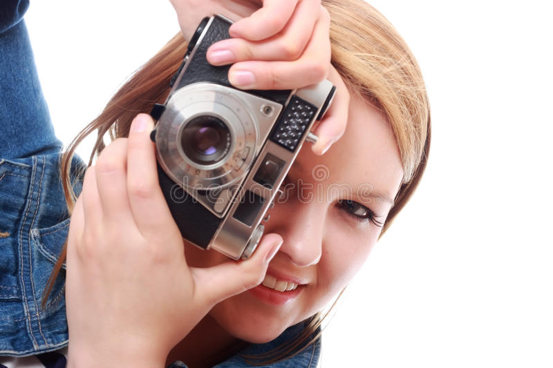 Download Pretty Young Woman With Vintage Camera Stock Image - Image: 25496835