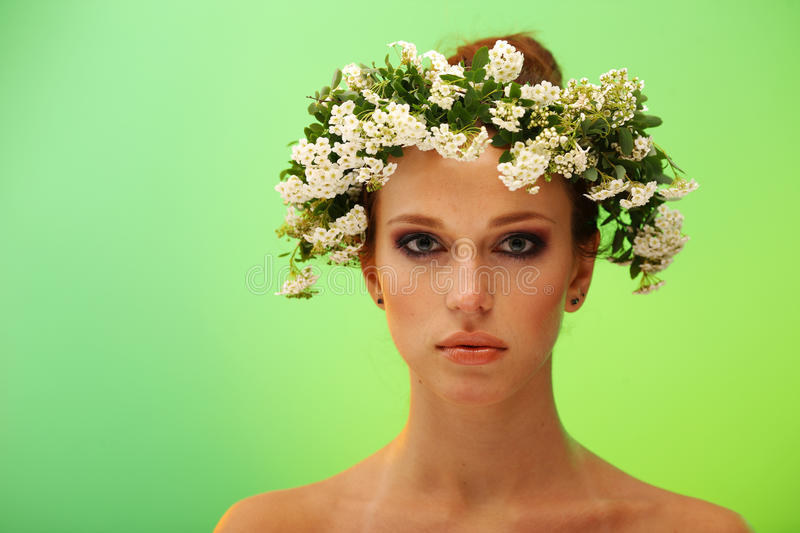 Pretty Young Woman With Wreath On Head Stock Image