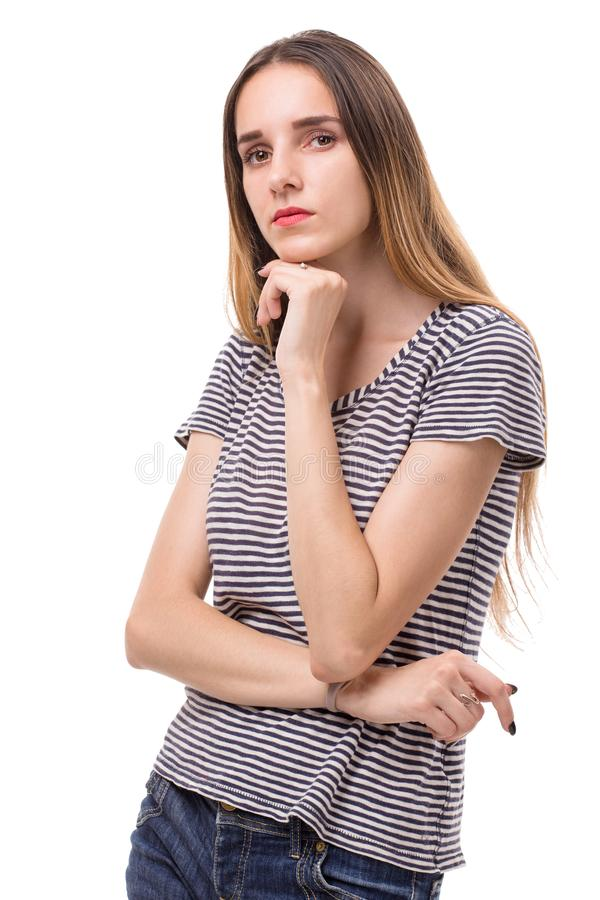Pretty young womanin shorts and stripet tshirt. royalty free stock image