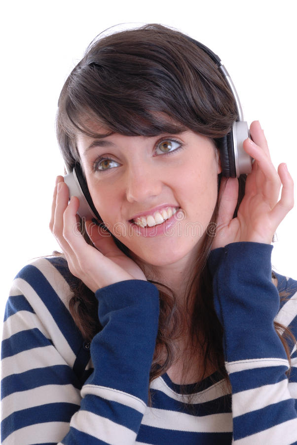 Pretty young women with earphones royalty free stock photo