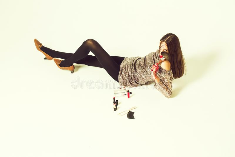 Halloween bloody fashion girl stock images