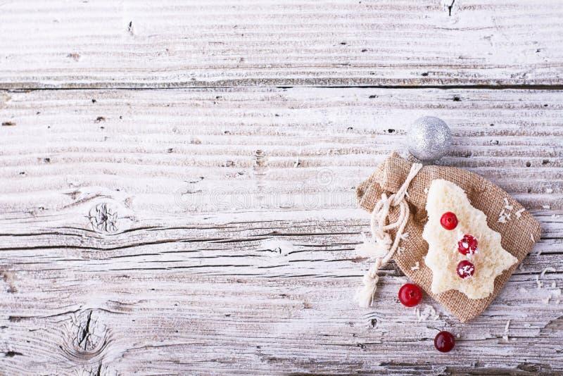Pretvoedsel voor jonge geitjes en volwassenen om de feestelijke lunch op Kerstmisnieuwjaar wit brood in de vormbomen te roosteren stock afbeelding