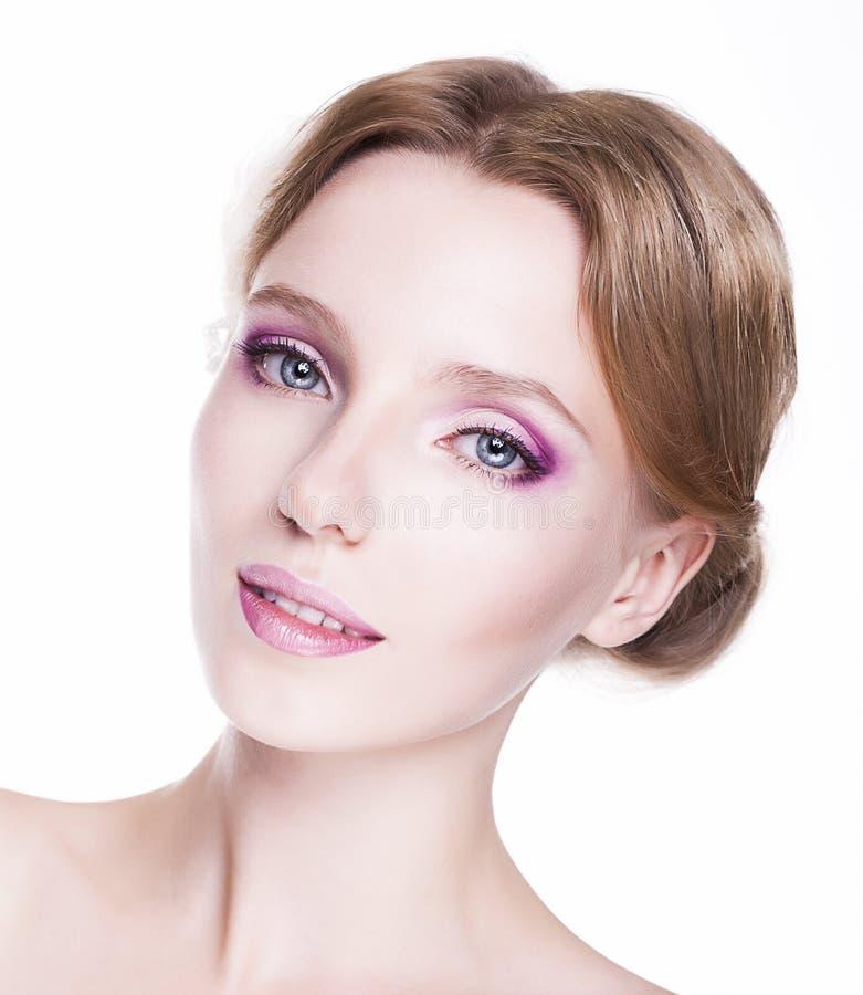 Femininity. Face Of Sensual Caucasian Woman. Pretty Smile Royalty Free Stock Photography