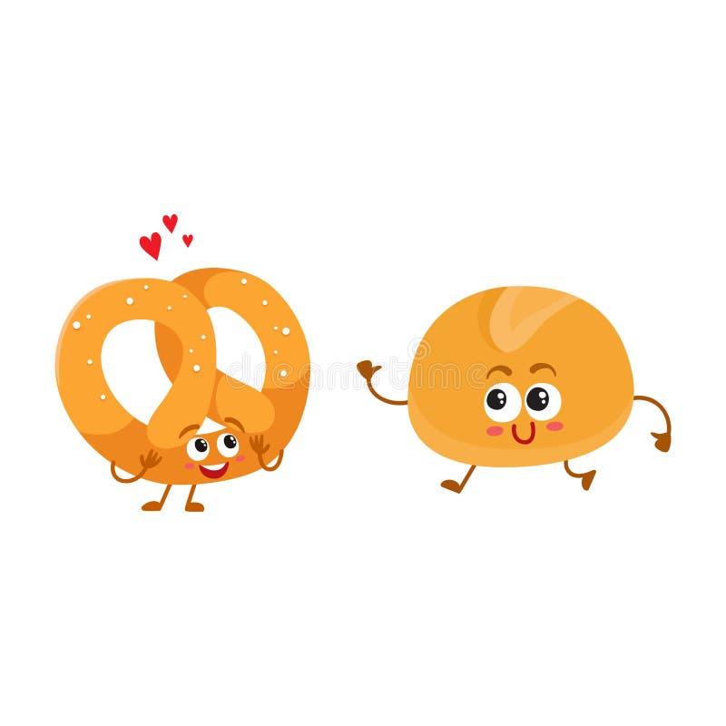 Pretzel alemán sonriente y bollo inglés, pan del desayuno, caracteres de la panadería stock de ilustración