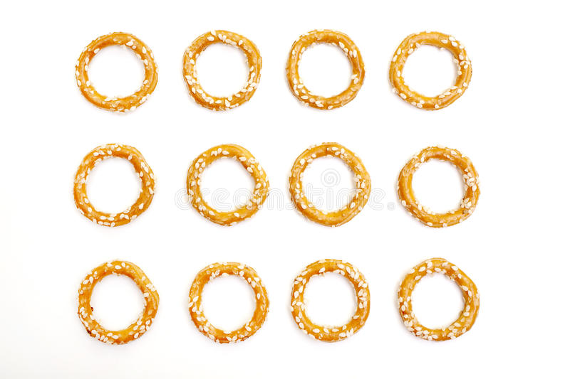 Pretzel crackers. Isolated on white background stock images