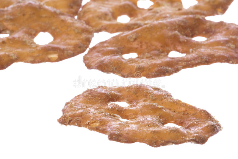 Pretzel Crackers Isolated. Isolated image of pretzel crackers royalty free stock photo