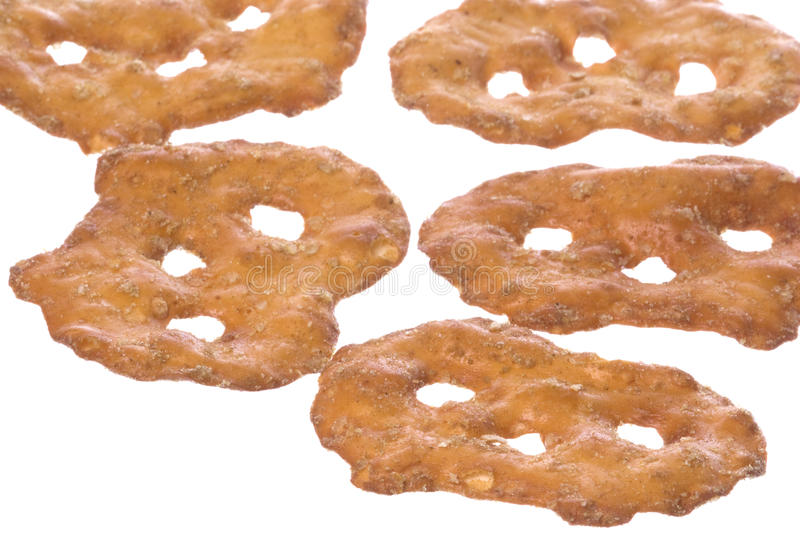 Pretzel Crackers Isolated. Isolated image of pretzel crackers royalty free stock photos