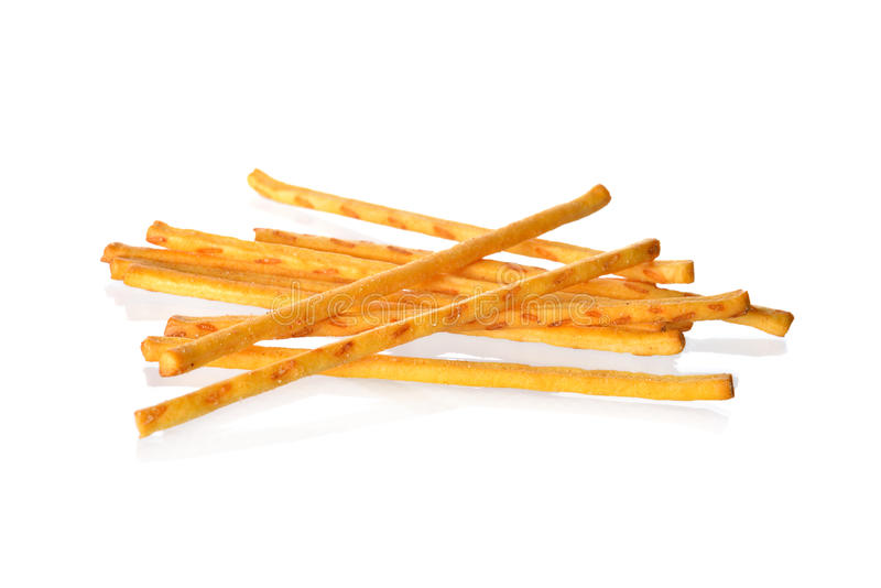 Pretzel or crackers stick on white background. Pretzel or crackers stick on a white background stock images