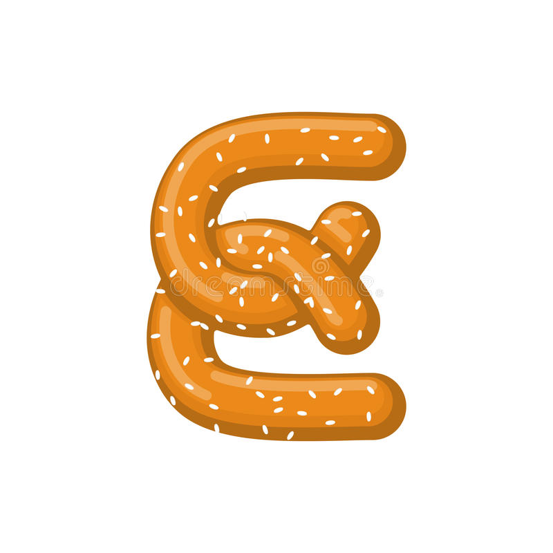 Pretzel de la letra E símbolo de la fuente del bocado Muestra del alfabeto de la comida Traditi libre illustration