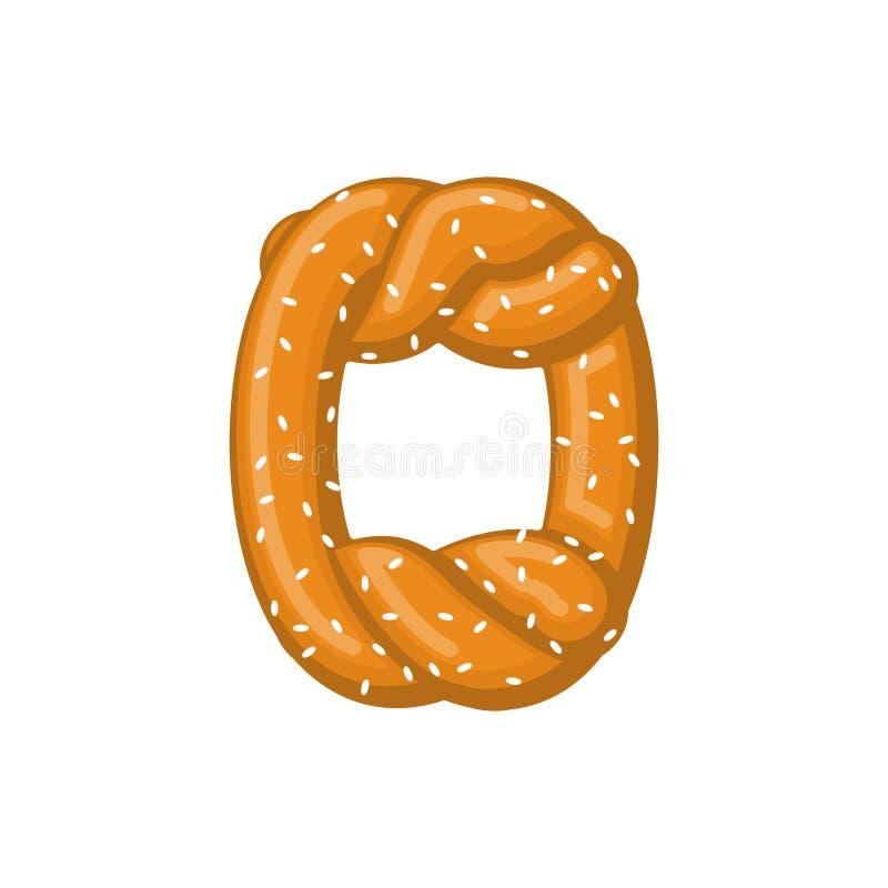 Pretzel de la letra O símbolo de la fuente del bocado Muestra del alfabeto de la comida Traditi libre illustration
